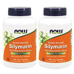 [2개 세트]  ◆ 대표 피로회복 간영양제 !◆ 2배강화 나우푸드 실리마린 밀크시슬 추출물 2X 300mg 200 베지캡슐