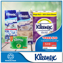 Bundle Deal[Kleenex]2x Soft Cottony Mega Bath Tissue + 2x Facial Vintage/Floral + 1x Refreshing Wipe