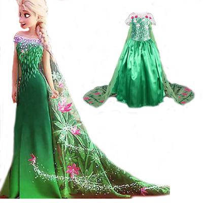 dd53db2bc Disney Frozen dress green elsa costumes Girls Cosplay party Princess anna  vestidos de festa meninas
