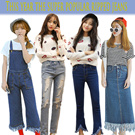 Sj225 Ladies jeans/ New arrivals! Denim pants / high waisted jeans / trousers / dark blue / show thin Suspenders / Ladies trousers/This year the super popular ripped jeans/mang types