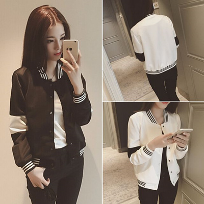 e7454b8aff5 Trendy Ladies Varsity Jacket 2 Colors Black White with Stripes (cardigan  baseball sports coat korean