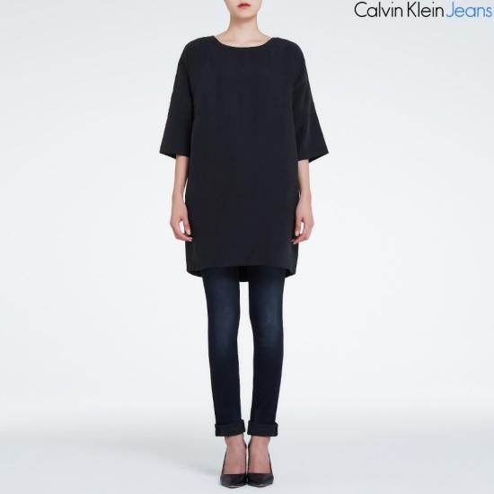 カルバン・クラインのジーンズ女性ブラックワンピース4BFDNG6 面ワンピース/ 韓国ファッション