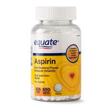 Equate Pain Relief Aspirin Coated Tablets, 325 mg, 500 Ct