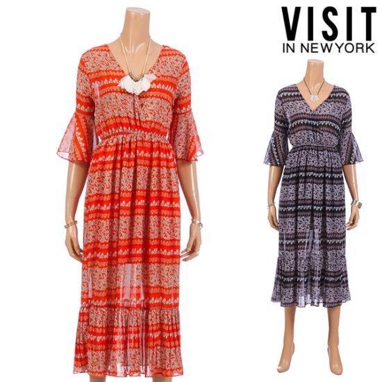 ・ビジット・インニューヨークディプブイシフォンマキシのワンピースVTFOP07 面ワンピース/ 韓国ファッション