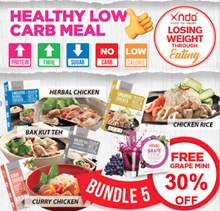 [Bundle of 5 meals FREE Carbs Blocker (Grape)] Xndo Healthy LOW Carbs meal set