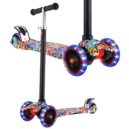 7c2aba2d396 Kick Scooter for Kids - 3 Wheel w Adjustable Height w Flashing LED Wheels  for Children