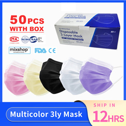 SG READY STOCK ★ Multicolor 3Ply Face Mask ★ Disposable Face Mask ★50pieces★ Face Mask Earloop
