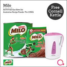 [NESTLE] (MILO® ACTIV-GO GSD 15s)+(Australian Recipe Powder Tin 1.25) FREE CORNELL  KETTLE