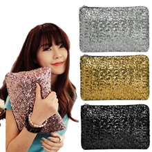 【TEEMI】 Sequins Metallic Glitter Clutch Evening Dinner Purse HandBag Dazzling Sparkling Party Bag