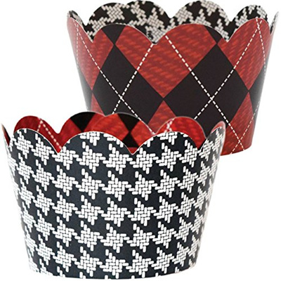 Qoo10 Plaid Party Decorations 36 Reversible Cupcake Wrappers Red