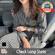 ★ Korea Fashion Business NO.1 Naning9 ★ Free Shipping ♥ 2019 S / S New Arrival! Tops / Check Long Shirts / Czech Republic Long Southern