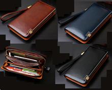 Men Long Large Zipper Wallet Purse leather b8115