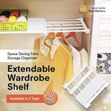 Extendable Wardrobe Shelf Adjustable Closet Organizer Rack/Divider/Storage/Wardrobe/Kitchen/Shoe