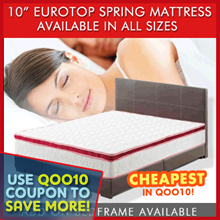 "[Furniture Specialist] QUEEN 10"" VEZEL Eurotop Spring Mattress / Add on Bedframe 