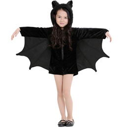 92cd35c61018 New Child Animal Cosplay Cute Bat Costume Kids Halloween Costumes For Girls  Black Zipper Jumpsuit
