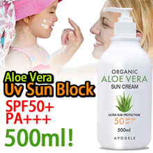 Ayodele Organic Aloe Vera Sun Block 500ml [SPF50+/PA+++] Family Size / Made in Kore