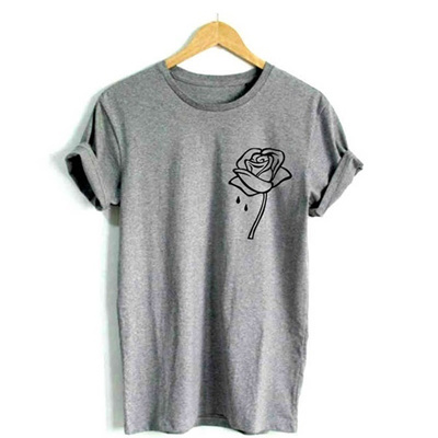 5ee0564c7 rose flower pocket Print Women tshirt Cotton Casual Funny t shirt For Lady  Black White Gray