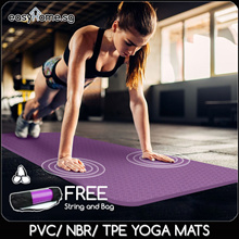 PVC / NBR / TPE Yoga Mat / Sports Exercise Gym Mat / FREE Yoga Bag and Free Strap