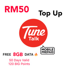 RM50 Tune Talk / Tone Excel / Tone Plus Instant Top Up * Free 8GB Data For 15 Days