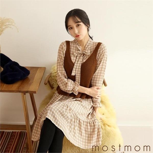 チョッキセットチェックワンピースM1750029 new プリントワンピース/ワンピース/韓国ファッション