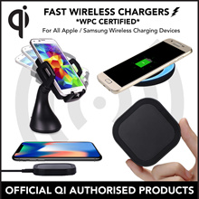 [QI WPC CERTIFIED] 100% AUTHENTIC FAST WIRELESS CHARGERS For Apple and Android Compatible Devices