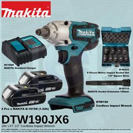 Makita DTW190JX6 Cordless Imact Wrench (SET)