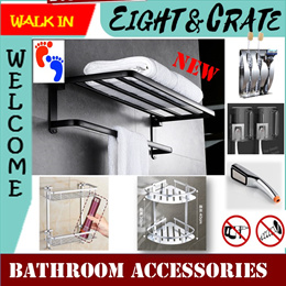 🇸🇬 Bathroom Accessories 🇸🇬 🛀 Tower rack No-Drill 3M Stainless Steel 304 Bathroom Accessories