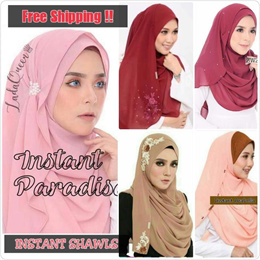 Instant Shawls | Double Loop | Chiffon Kirana | Hijab | Muslimah | Tudung