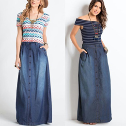 New Women Fashion Blue Jeans Pocket Front Buttons Long Skirt