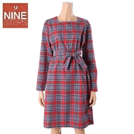 ナインステップスクェオネクチェックひもOPSN17NO7404R 面ワンピース/ 韓国ファッション