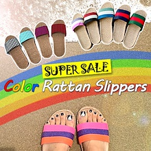 ★Super Sale Color Rattan Slippers ★ Linen Slipper ★ Summer / Unisex Men and Women / Indoor