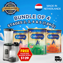 [Bundle of 4] Enfagrow A+ Baby Milk Powder Stage 2/3/4/5 - 1.8kg + FREE Philips Blender
