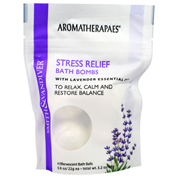Smith & Vandiver, Stress Relief Bath Bombs with Lavender Essential, 4 Effervescent Bath Balls, 0.8 o