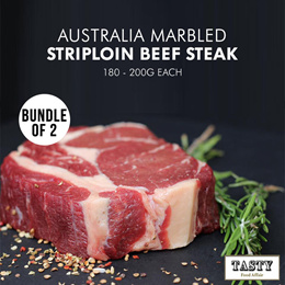 Premium Quality - Bundle of 2 Australia Marble Meltique Striploin Steak (180g) [Frozen]