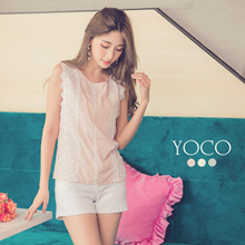 YOCO - Sleeveless Top with Lace Inserts-6013106