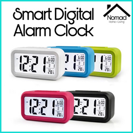 NOMAD Smart Digital Alarm Clock w Big Screen LED Light Sensor Control