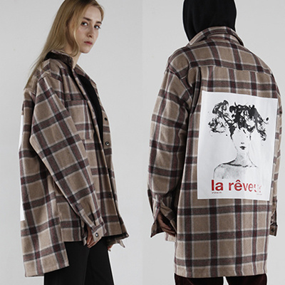 Qoo10 ftfclothing check shirt brown la reveur flannel for Ladies brown check shirt
