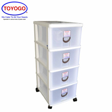 Toyogo Plastic Storage Cabinet / Drawer With Wheels (4 Tier) (803-4)