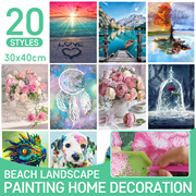 5D DIY diamond painting rhinestone embroidery beach landscape  picture home decoration