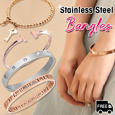 749c1c107 PERFECT GIFT △ STAINLESS STEEL BANGLES / BRACELETS / ROMAN NUMERALS  BRACELETS △ ANTI-