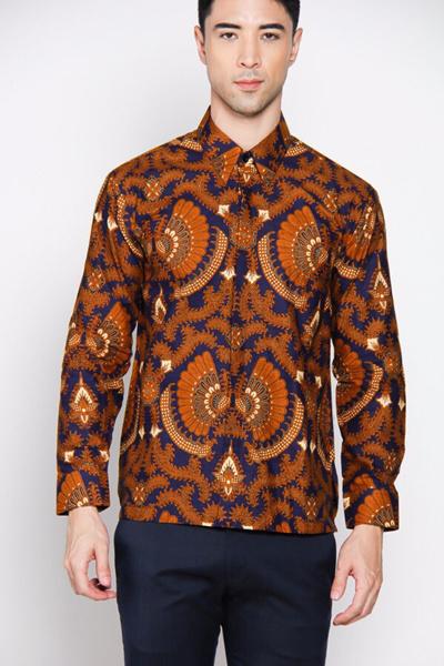 Adiwangsamodern Batik Shirt Model Mens Slim Fit Long Sleeve Shirt 079