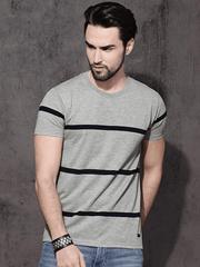 Gray Strips Half Tshirt