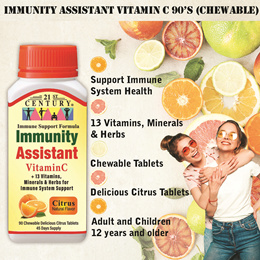 NEW! Immunity Assistant Vitamin C 500mg + Multivitamins and Herbs 90 Delicious Chewable Tablet