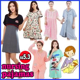Maternity Wear Pajamas/ Nursing Breastfeeding Confinement Dress/Pregnancy Women Clothes/ Sleepwear