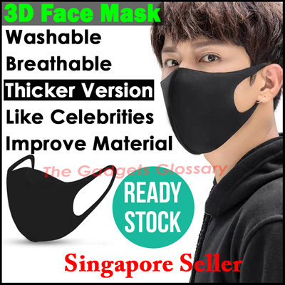 Face Cover Protection Anti-Droplets Water Resistant Wash 30 Times Polyester Cotton Comfortable 3 Layers Unisex Off-White Adjustable Straps Ship from USA 3EA