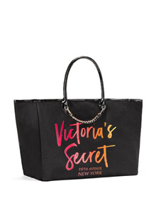 Victorias Secret large open Angel City canvas tote with neon prints