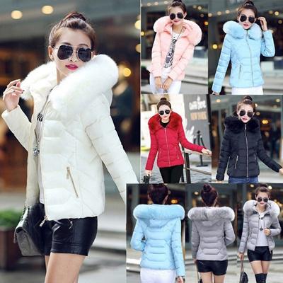 Women s Down Parkas Cotton Jacket Cotton-padded Coat Winter Large Fur Collor Hooded Parka Coats