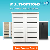 【Multi-Options】2 Doors Classic Style Entryway Shoe Cabinet/Shoe Storage Organizer/Shoe Rack