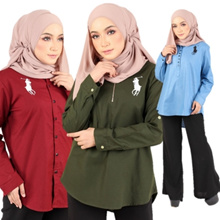 【READY STOCK】Premium Quality Women Standard Full Sleeves Shirt/Muslimah Blouse
