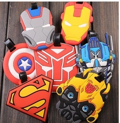 Transformers cartoon hero Iron Man logo tag pendant silicone luggage tag  travel goods consignment ca